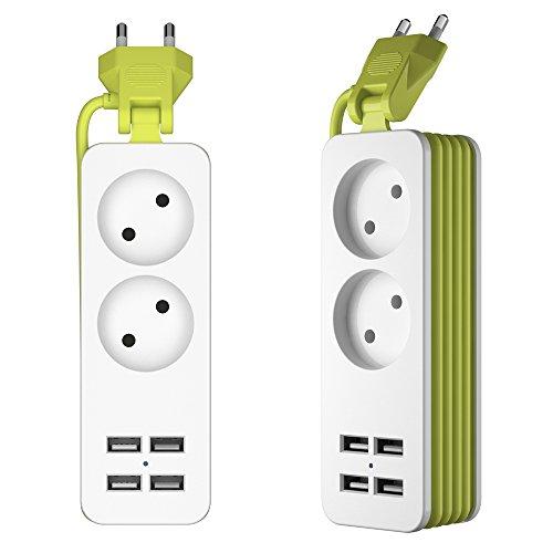 UPWADE 2-fach Steckdosenleiste mit 4 USB-Anschlüssen 1200W 250v,2M ...